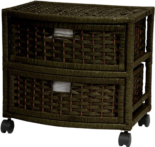 "Good Excellent Quality Affordable Nightstand End Tables - 16"" 2 Drawer Natural Fiber Rattan Style Storage Chest w/ Casters- Black"