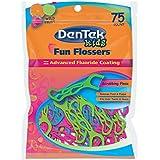 DenTek Fun Flossers For Kids, Wild Fruit Floss Picks,Easy Grip For Kids,75 Count (pack Of 6)