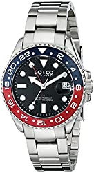 SO&CO New York Men's 5021.2 Yacht Club Stainless Steel Blue and Red Bezel Watch