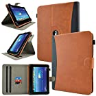 caseen Universal Tablet Wallet Case 8.9 - 10.1 Inch (Brown/Black) *NEW Version Indestructible TPU Clip* [Rotating Multi-Angle Stand] - TERRA Wallet 360