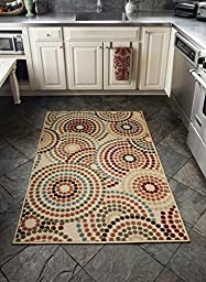 Diagona Designs Contemporary Abstract Circles Design 5 By 7 Modern Non-Slip Area Rug