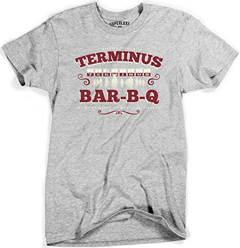 Superluxe™ Mens Terminus BBQ Vintage Style Zombie Apocalypse T Shirt, Sport Gray, XX-Large (Bbq Clothing compare prices)