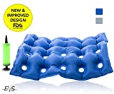 "Premium Air Inflatable Seat Cushion 17"" X 17"" (Waffle),Heat Sealed Construction for Durability, Air Seat Cushion for Wheel Chair and Day to day use . Ideal for Prolonged Sitting .FDA Approved (Blue)"