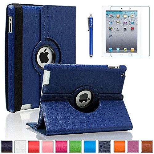 iPad 2/3/4 Case, AiSMei 360 Degree Rotating Stand Case Cover with Wake Up/Sleep Function For Apple iPad 2,the New iPad,iPad 4 [the 2nd,3rd,4th Gen 9.7-Inch iPad] [Case+Film+Stylus] -Navy Blue (Ipad Blue Case compare prices)