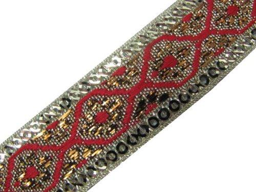 4.5 Yd Red Metallic Bronze Border Ribbon Trim Sewing