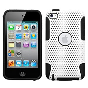 Snap-On Protector Hard Case for Apple iPod Touch 4th Generation / 4th Gen - Love Party White/Black Hybrid Design + 4.5 Inches Lens/Screen Cleaning Cloth