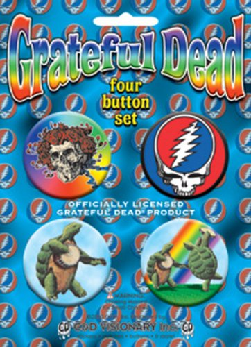 "GRATEFUL DEAD Blue blu Bear orso 4 Piece pezzo Assorted assortito GDP Inc. BUTTON Set, Officially Licensed Products Classic Rock Assorted Artwork Button pulsante Set - 1.5"" Each"