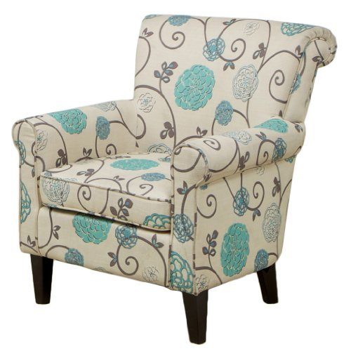 Amazon com roseville blue floral club chair accent chair