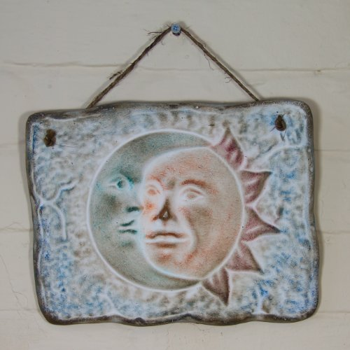 Eclipse Sunflower Ceramic Plaque for wall decoration - Fair trade and handmade in Mexico - Indoor or outdoor use L28xH21cm