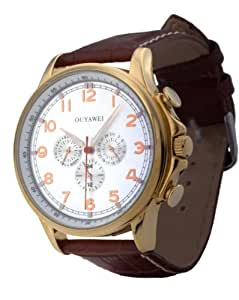 Men's Fathers Day Gifts Streamlined White Dial Brown Leather Strap Mechanical Day-date Wrist Watches