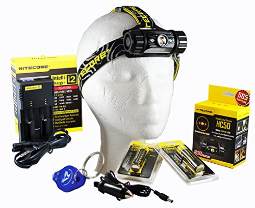 Premium Rechargeable Bundle: Nitecore Hc50 565 Lumens Cree Xm-L2 Rechargeable Led Headlamp, 2X 18650, Nitecore I2 Charger, Car Aapter, Lumentac Keychain Light