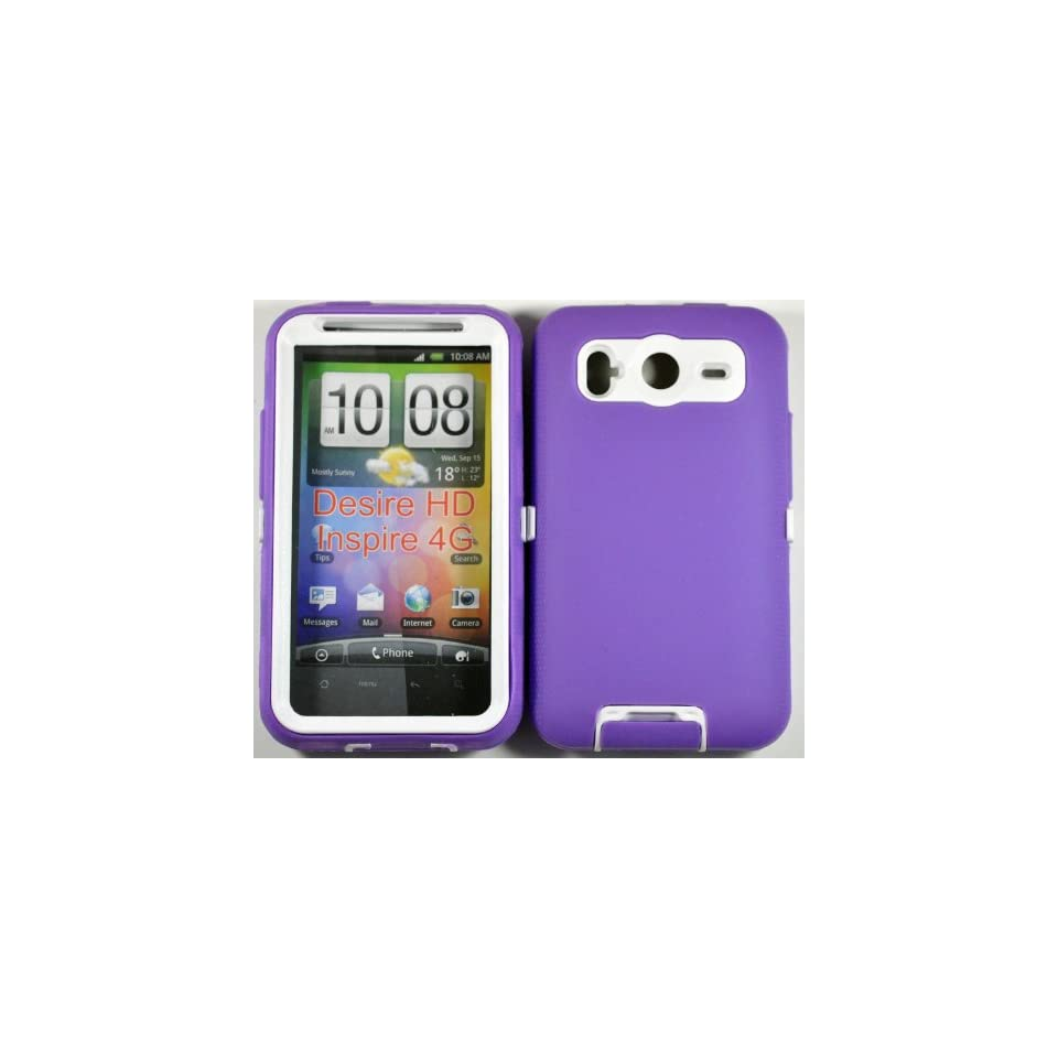 Hard Plastic Snap on Cover Fits HTC Inspire 4G Desire HD Armor Purple White Hybrid Case (Outside Purple Soft Silicone Skin, Inside Black Front and Back Hard Case) AT&T
