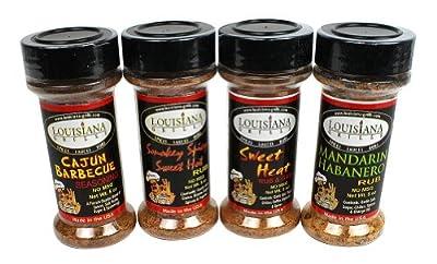 Grill Seasonings by Louisiana Grills: Packin' Heat Hot Rub Gift Set - 4 pack (Cajun BBQ, Smoky Spicy Sweet Hot, Sweet Heat, and Mandarin Habanero)