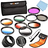 K&F Concept 52mm 9pcs UV CPL FLD Graduated Filter Lens Accessory Filter Kit UV Protector Circular Polarizing Filter Graduated Orange Blue Grey Red Green Brown for Nikon D5300 D5200 D5100 D3300 D3200 D3100 DSLR Cameras + Microfiber Lens Cleaning Cloth + P