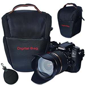 First2savvv Black Digital SLR Camera Bag Holster Case for OLYMPUS C-700 Ultrazoom with UV lens filter protection bag case