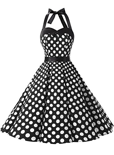 Dressystar Vintage Polka Dot Retro Cocktail Prom Dresses 50's 60's Rockabilly Bandage Black White Dot XL