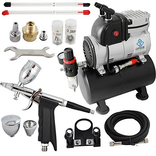 OPHIR Professional Airbrush Air Compressor 0.3mm,0.5mm,0.8mm Airbrush Kit with 110V Airbrushing Air Tank for Tanning Wall Car Paint