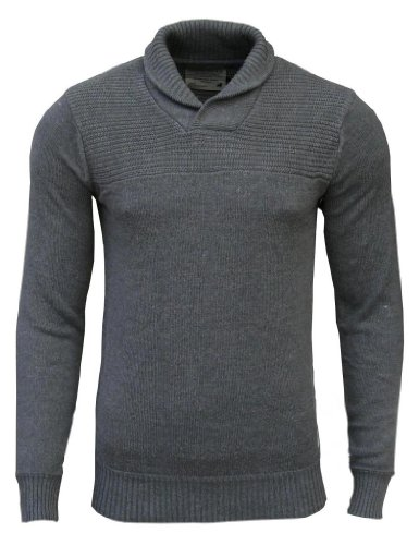 Jack & Jones Men's Shawl Neck Jumper dark grey / navy elbow patches Large