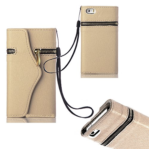 Mylife (Tm) Sand Storm Tan - Zipper Design - Textured Koskin Faux Leather (Card And Id Holder + Magnetic Detachable Closing) Slim Wallet For Iphone 5/5S (5G) 5Th Generation Itouch Smartphone By Apple (External Rugged Synthetic Leather With Magnetic Clip +