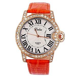 Yesurprise Fashion Roman PU Leather Rhinestones Bracelet Women Quartz Dial Wrist Watch Orange
