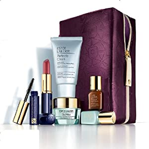 Estee Lauder 2013 Gift Set $135 Value including Skincare Duo, Advanced Night Repair Serum, Cleanser, Lipstick, Mascara with Purple Cosmetic Bag