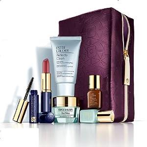 Estee Lauder 2013 Gift Set $135 Value including Skincare Duo, Advanced Night Repair Serum, Cleanser, Lipstick, Mascara with Purple Cosmetic Bag