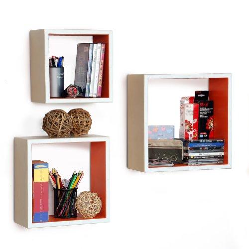Trista - [Rosy Symphony] Square Leather Wall Shelf / Bookshelf / Floating Shelf (Set Of 3)