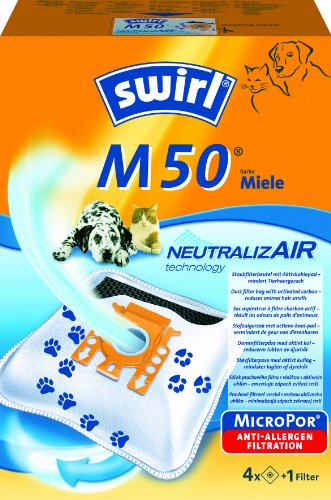 Swirl M50 NeutralizAir Staubsaugerbeutel für Miele Staubsauger, 4 Stück + 1 Filter