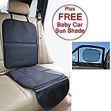 Just Pure Hut - Alfombrilla protectora de asiento de coche para silla de bebé, de piel, incluye parasol gratuito