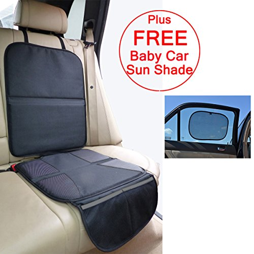 Child Car Seat Protector Mat - Covers Under Child Seat - Auto Leather Saver For Baby Seat - 100% Money Back Guarantee - Includes *FREE* Baby Car Sunshade