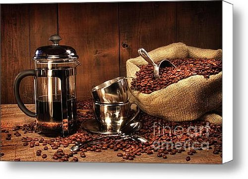 Sack Of Coffee Beans With French Press Canvas Print / Canvas Art - Artist Sandra Cunningham