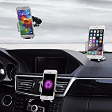 3 in 1 Universal Mobile Phone Dashboard, Air Vent and Windscreen Car Holder / Cradle / Mount / - Works on Dashboard / Air Vent and Windscreen -iPhone 6 Plus /6/5/4 and Android Smartphones - Keeps your iPhone, Samsung, HTC, NOKIA, BlackBerry, LG / Sat-Nav safe and secure