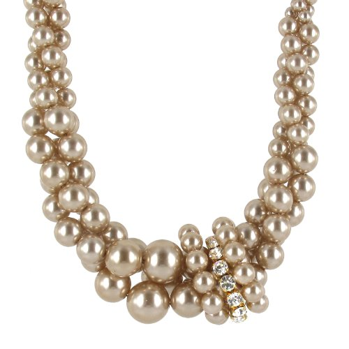 Champagne Simulated Pearl and Clear Crystal Knotted Twist Necklace, 18