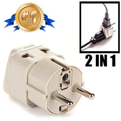 OREI Grounded Universal 2 in 1 Schuko Plug Adapter Type E/F for Germany, France, Europe, Russia & more - CE Certified - RoHS Compliant (Plug Adaptor Spain compare prices)
