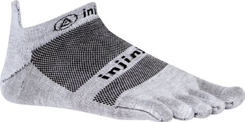 Injinji Injinji Men's Run Lightweight No Show Toesocks, Gray, Medium