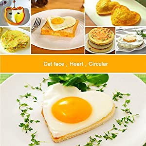 Egg Rings, Venhoo 3 Pack Silicone Egg Mold-Breakfast Cooking Pancakes Burgers Omelet Benedict Eggs Fried-Non Stick Round/Heart/Bear Head Shape Egg Molds (Orange)