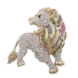 Generisches österreichisches Kristall elegant Löwe Brosche Klar AB Gold-Ton N00451-3