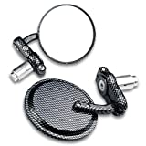 Motorcycle Multi Angle Adjustable Chrome Plated Billet Aluminum 2x Universal Mini Convex Lens Outside Handle Bar End Convex Blindsight Rearview Left & Right Side View Mirrors Universal Fit For Suzuki GSXR GSX-R 600 750 1000 GS250 GS300 GS400 SV650 GT380