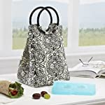 Retro Insulated Designer Lunch Bag with Ice Pack - Damask