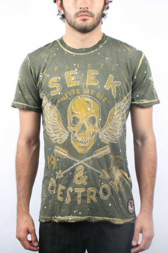 Affliction - Mens Seek & Destroy T-Shirt in Military Green, Size: Large, Color: Military Green