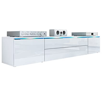 TV Stand Unit Triest, Carcass in White matt / Front in White High Gloss