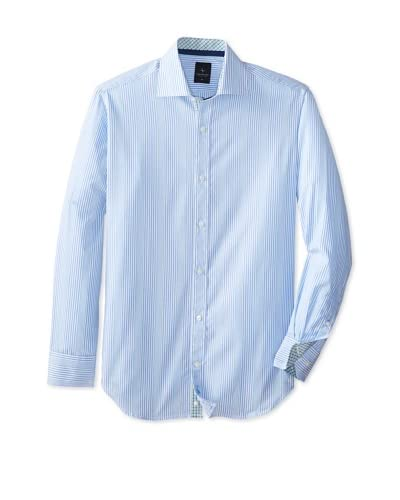 TailorByrd Men's Mustang Long Sleeve Striped Classic Sportshirt