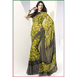 Pear Green Party and Casual Faux Georgette Printed Saree