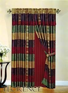 3 Layer Modern Multi Color Jacquard Curtain Set Burgundy Sage Gold Purple With