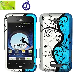 Cricket ZTE Score X500 Black Vine Flower on Blue Silver Design (B-BLVN), Rubberized Coated Surface Impact Defender Hard Plastic Case Skin Cover Faceplate + Peace Charm and Strap Combo