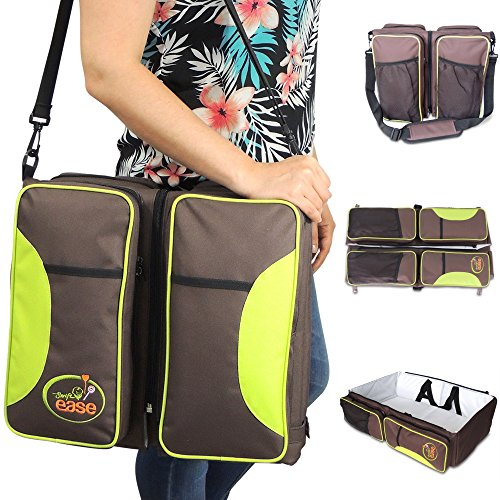 3 IN 1 DIAPER BAG - Changing Mat - Travel Bassinet - Cool Bag - Brown and Green - Multi-function Baby Tote Bag - Carry Cot - Co-Sleeper - Baby Shower Gift for Boy and Girl - Nappy Bag - Baby Gear