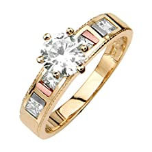 buy 14K Tri Color Gold Wedding Engagement Ring - Size 8