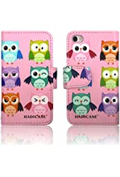 Pink OWLS Leather Wallet Purse clutch Handbag iPhone 4 4s Case Cover ID,Credit Card,Cash Slots