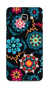 Amez designer printed 3d premium high quality back case cover for Samsung Galaxy A7 (2016 EDITION) (Suzani inspired pattern on black)