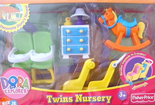 Nick Jr. Dora The Explorer Twins Nursery Playset W Double High Chair, Night Stand & Double Stroller & More! (2006 Fisher Price)